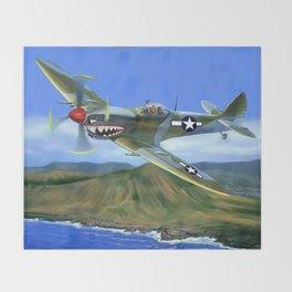 Spitfire Soars Over Hawaii Throw Blanket