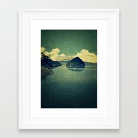 blues Framed Art Prints featuring Distant Blues by Kijiermono
