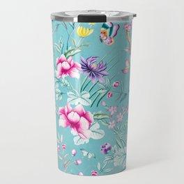 Pastel Teal Vintage Roses and Butterflies Pattern Travel Mug
