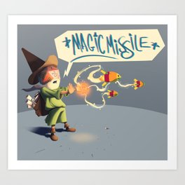 "The Wizard Casts ""Magic Missile"" Art Print"
