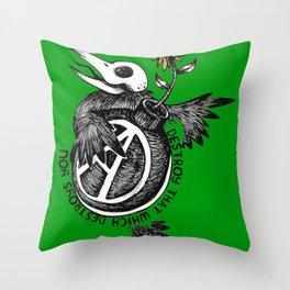 Destroy That Which Destroys You - Anarchist, Radical, Bird Throw Pillow