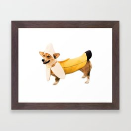 Banana Corgi Framed Art Print