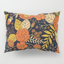 Retro Orange, Yellow, Brown, & Navy Floral Pattern Pillow Sham
