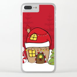 Hand Drawn Christmas fairy gingerbread winter wonderland Clear iPhone Case