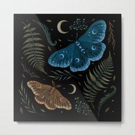 Moths and Ferns Metal Print