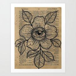 Flower with Eye: Beauty is in the Eye... Art Print