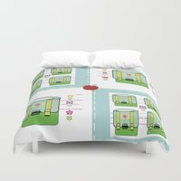 backpack Duvet Covers featuring Backpack  Quilt -Apple by Drape Studio