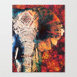 Indian Sketched Elephant Red Orange Canvas Print