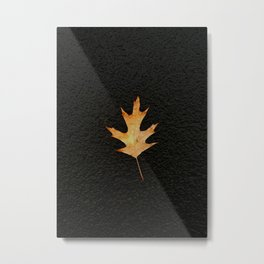 Oak Leaf on Black Background Metal Print
