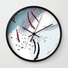 Tender blue red splash Wall Clock