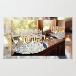 Wedding banquet champagne glasses Rug