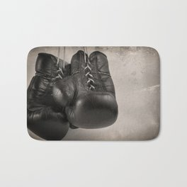 Boxing Gloves black and white Bath Mat