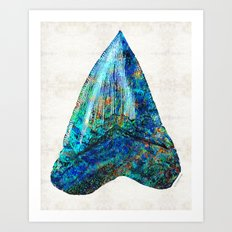 Blue Shark Tooth Art by Sharon Cummings Art Print