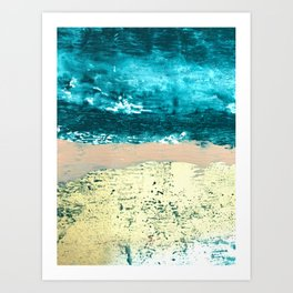 Darling: a bold, abstract, mixed-media piece in gold, teal, and pink Art Print