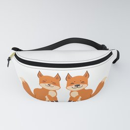 cute fox, boy and girl with funny face and fluffy tails on white background Fanny Pack