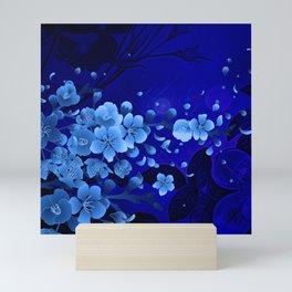Cherry blossom, blue colors Mini Art Print