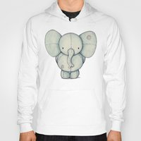 elephant Hoodies featuring Cute Elephant by Mike Koubou