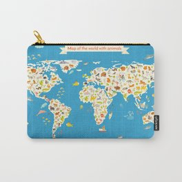 Map of the World with animals. Beautiful colorful vector illustration. Carry-All Pouch