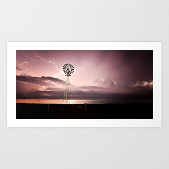 Windmill Lightening Strike Art Print