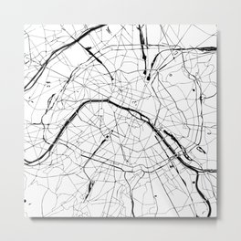 Paris Minimal Map Metal Print