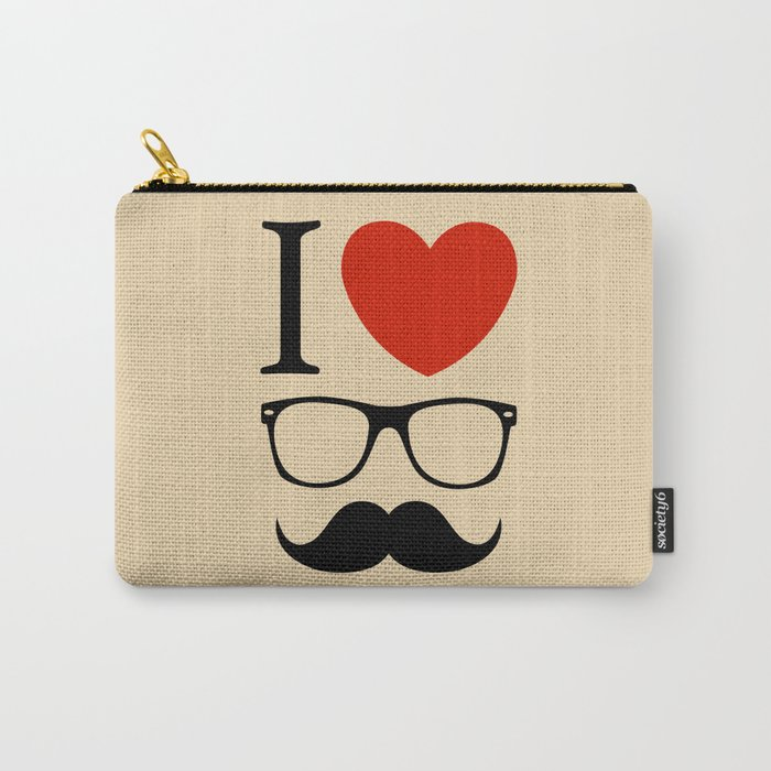 I love glasses and mustaches Carry-All Pouch