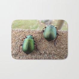 Iridescent  Green Beetles Bath Mat
