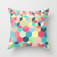 Yummy Summer Colour Honeycomb Pattern Throw Pillow