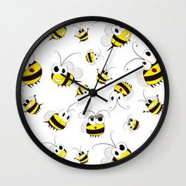 Positive cartoon bee Wall Clock