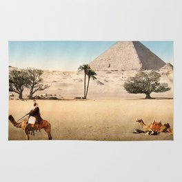 Vintage Pyramid : Grand Pyramid Gizeh Egypt 1895 Rug