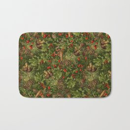 Traditional Holly Christmas Pattern Bath Mat