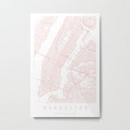 Manhattan New York Light Pink Minimal Street Map Metal Print