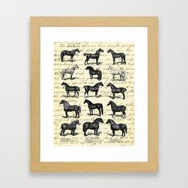 1895 Vintage Horse study Framed Art Print