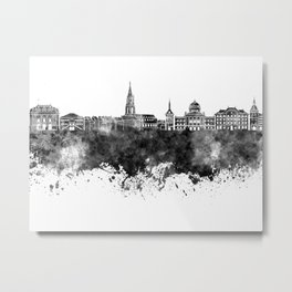 Toulouse skyline in black watercolor on white background Metal Print
