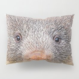 Wombat Face Mammal Frontal Grey Red Big Nose Pillow Sham