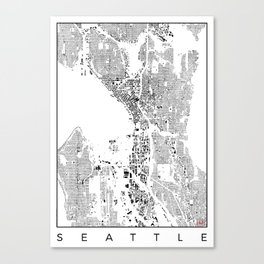 Seattle Map Schwarzplan Only Buildings Canvas Print