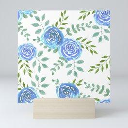 Blue roses or rosa symbolise secret or unattainable love Mini Art Print