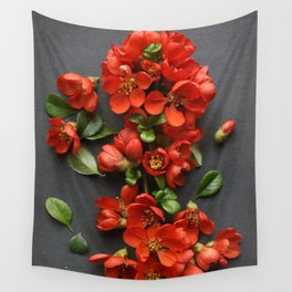 Red Quince Blossom Wall Tapestry