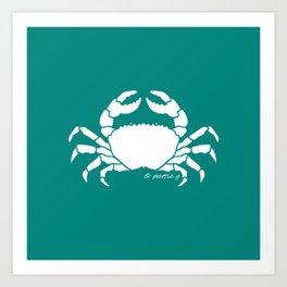 Crab Aqua Background Art Print