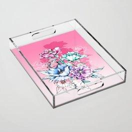 Poppy Bouquet- Pink Acrylic Tray