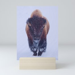 Bison Moving Through the Snow in Yellowstone National Park #Socety6 #bison Mini Art Print