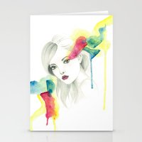 gemma correll Stationery Cards featuring Gemma Ward by Simona Borstnar