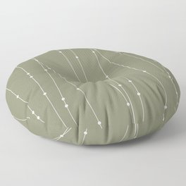 Contemporary Intersecting Vertical Lines in Sage Green Floor Pillow