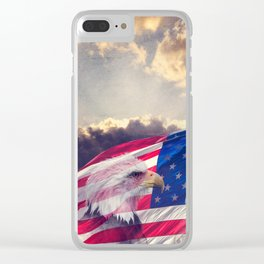 The United States Capitol, American Flag and Bald Eagle with aged,grunge effect. Clear iPhone Case