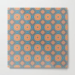 Lisbon Sunrise Portuguese Tile Seamless Pattern Metal Print