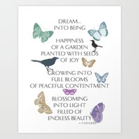 poem Art Prints featuring Dream Poem by Zen and Chic
