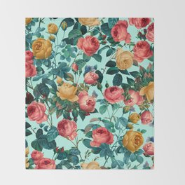 Spring-Summer Botanical Pattern II Throw Blanket