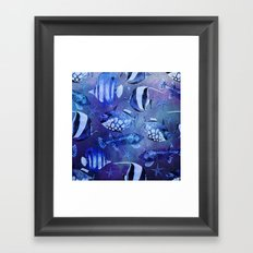 Watercolor fish pattern dark blue Framed Art Print
