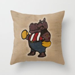 Hippo Pugilist Throw Pillow