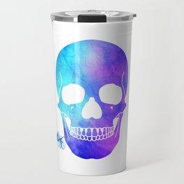 Halloween Blue Skull with flowers Design Travel Mug