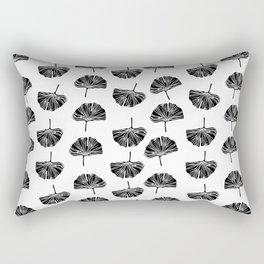 Linocut Ginkgo leaf botanical pattern leaves minimal home decor nursery black and white Rectangular Pillow